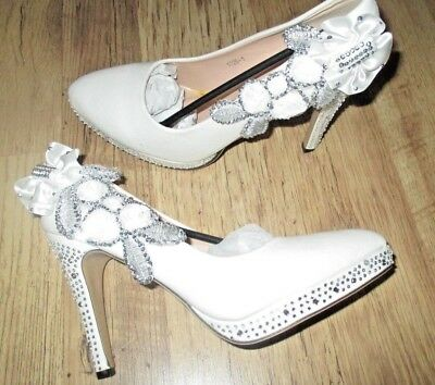 BN Ladies  Ivory & Diamante High Heel  Wedding/Party Shoes  Size 6