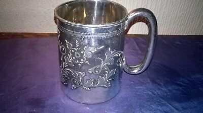 EDWARDIAN PLATED TANKARD. APPROX. 4 1/2 ins. TALL.  ORNATE  CLASSIC  DESIGN