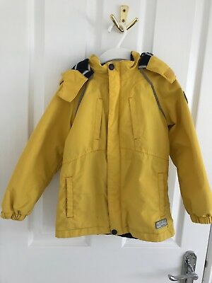 BOYS YELLOW RAINCOAT Jasper Conran, size 4-5. Zip out fleece
