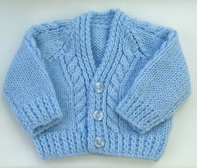 New Hand Knit Cardigan for a Newborn in Blue