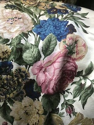 """Vintage French Toile Floral Bouquet Shabby Chic  c1950s 48""""/100"""" Timeworn"""