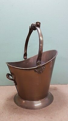 Vintage Brass Coal Skuttle With Handle