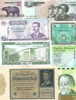 Lot of 73 World Banknotes, 1793-2000  Circ/UNC  Nice! Look!