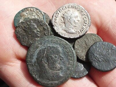 Lot Of 10 Roman Bronze Coins Uncleaned