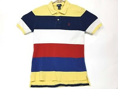 VTG Ralph Lauren Polo YOUTH XL  Casual Rugby BLUE YELLOW RED COMP MENS SMALL SM