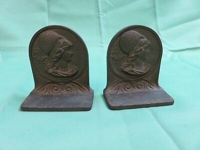 Vintage Metal Bookends with Roman-type Silhouette Art