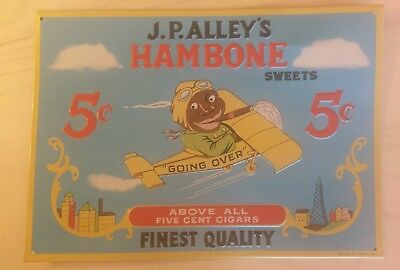 J.P. ALLEY'S Hambone Sweets Aviator in Airplane 5¢ Cigars Vintage Metal Tin Sign