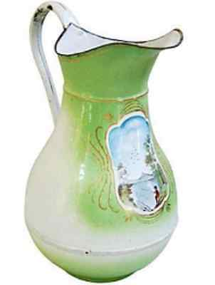 Antique Vintage French Enamel Water Pitcher ~ Green with Handpainted Lake Scene
