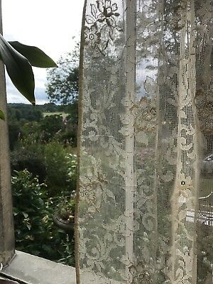 """1 C 1930s  Vintage ARTs & Crafts Victorian lace mill lace panel 50""""/34"""""""