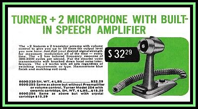 Turner +2 Microphone 1963 Banner Brand New for your Man Cave Made from 1963 Add
