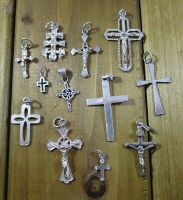 Charms Religious Cross Vintage Sterling Silver | Lot of 12 | 13.4 g
