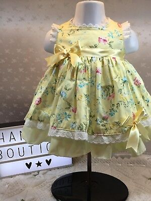 Hannahs Boutique Baby Girls Spanish Lemon Floral Frilly Lined Dress 0-3m - 5-6yr