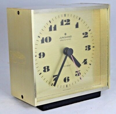 Vintage 1960s Junghans Electronic Ato-Mat Square Brushed Brass Clock Mantel Desk
