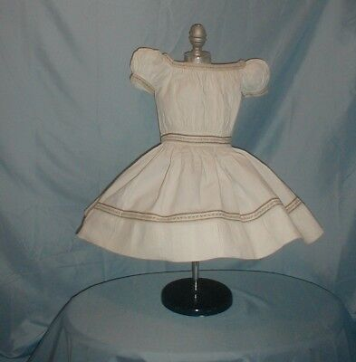 Antique Child's Dress 1860 White Cotton Floral Trim