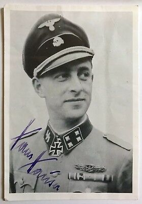 German WWII Signed Photo of Knights Cross Recipient – Waffen-SS Hans Hauser