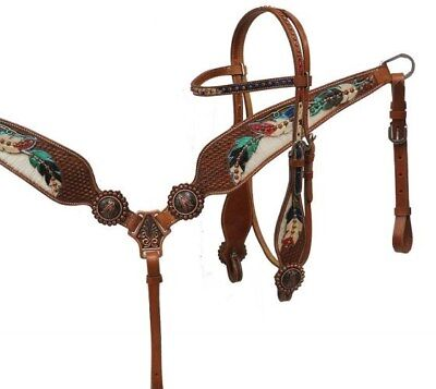 Showman Bridle & Breast Collar Set w/ Genuine Cowhide & Painted Feather Design!!