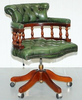 Mahogany Chesterfield Directors Green Leather Executive Captains Office Chair