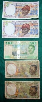 CENTRAL AFRICAN STATES - 5 x Used Banknotes