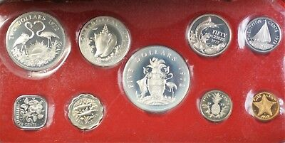 1972 Bahamas Mint Set 9 Coins Gem Proof in the Original Red Box