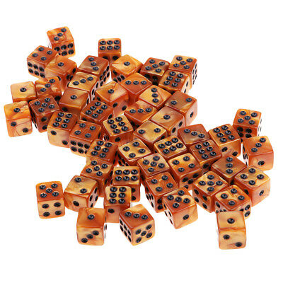 Pack of 50 Acrylic Dices D6 Six Sided Dice Party Game Casino Supplies Brown