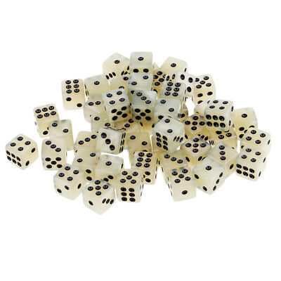 Pack of 50 Acrylic Dices D6 Six Sided Dice Party Game Casino Supplies Cream