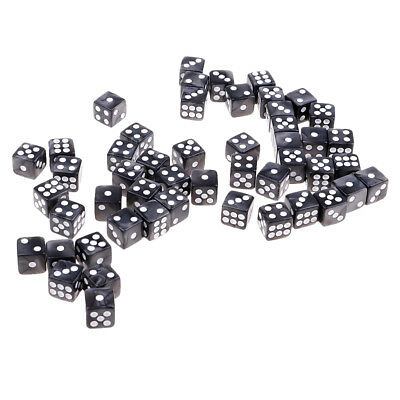 Pack of 50 Acrylic Dices D6 Six Sided Dice Party Game Casino Supplies Gray