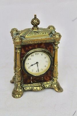 Antique HAC Carriage Clock. Brass And Faux Tortoiseshell Case. For Restoration