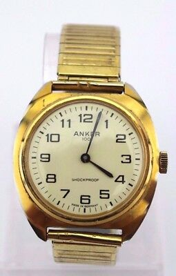 ANKER 100 Herrenuhr Vintage 70-80er Jahre men's watch Gold Optik Handaufzug