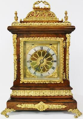 Rare Antique English Walnut Basket Top Triple Fusee Musical 8 Bell Bracket Clock