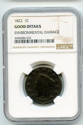 1822 Coronet Head Cent (Good Details) NGC.  Environmental damage