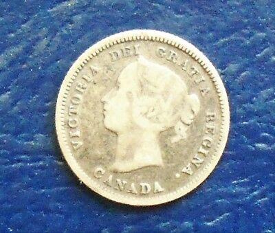 .925 Silver Better Date 1886 Canada 5 Cents KM# 2 Victoria Nice Circulated # WB4