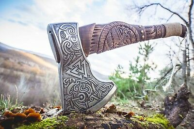 Allfather Axe Handmade Engraved Odin Viking Axe - Viking Battle Axe