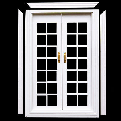 1/12 Scale Dolls House Furniture Miniature Exterior Wooden French Door White