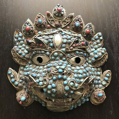 Antique Chinese Tibetan Inlaid Turquoise Coral Lion Mask Art Sculpture Stone NR