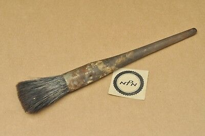 Antique Vintage Paint Brush Wood Handle Metal Band Round Shaker Style Horse Hair