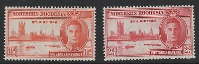 KING GEORGE VIth VICTORY STAMPS. NORTHERN RHODESIA. MOUNTED MINT.