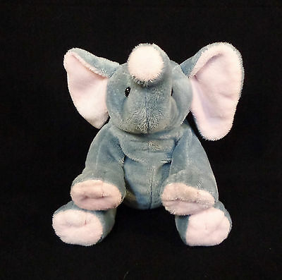 "12"" Ty Pluffies Plush Gray & Pink Elephant 2010- Stuffed Animal Baby Beanie 0+"