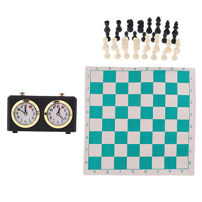 Chess Game Set Folded Board Chess Pieces Chess Timer Clock and Handbag