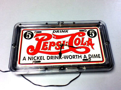 Pepsi-Cola wall sign clock neon light license plate lighted wall 5 cent soda Kq8