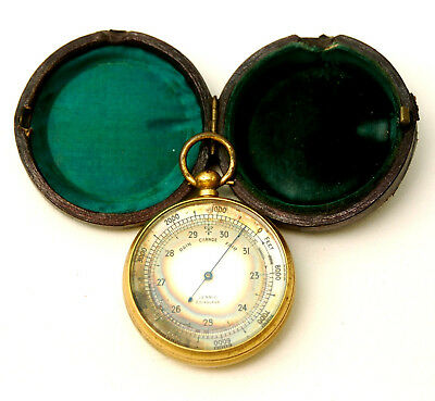 ANTIQUE 19thC GILT BRASS BAROMETER ALTIMETER LENNIE EDINBURGH IN ORIGINAL CASE