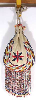ca1920s NATIVE AMERICAN APACHE INDIAN BEAD DECORATED POSSIBLE BAG / BEADED POUCH