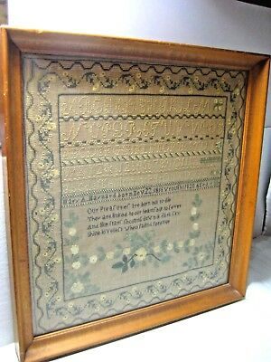 PRISTINE Antique Sampler Framed Mary A. Maynard Born November 22 1816