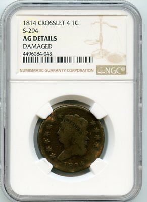 1814 Crosslet 4 Classic Head Large Cent  AG Details NGC. (S-294)   Damaged