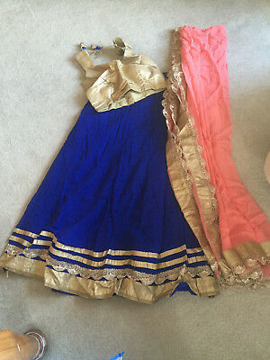 Blue, pink and gold lengha