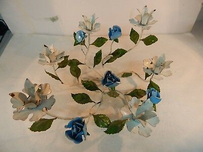 Vintage/MCM Mid Century Blue Rose Metal Tole 6 Place Candle Holder,Centerpiece
