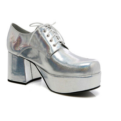 "Mens Silver Platform 3"" Heel Halloween Shoes"