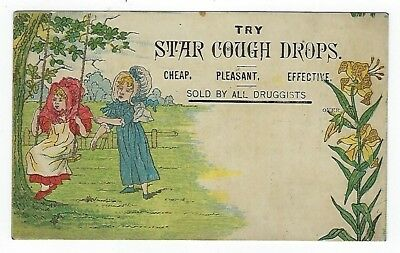 Star Cough Drops late 1800's medicine trade card #C - Kate Greenaway