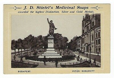 Stiefel's Medicinal Soaps late 1800's trade card - Budapest - Petofi Monument