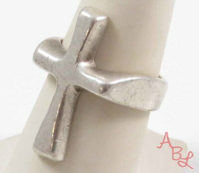 Sterling Silver Vintage 925 Religious Cross Heavy Ring Sz 8 (9.7g) - 730624