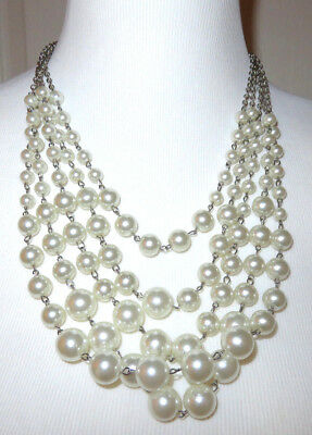 Mocha 5 Layered White Synthetic Pearl Necklace NEW